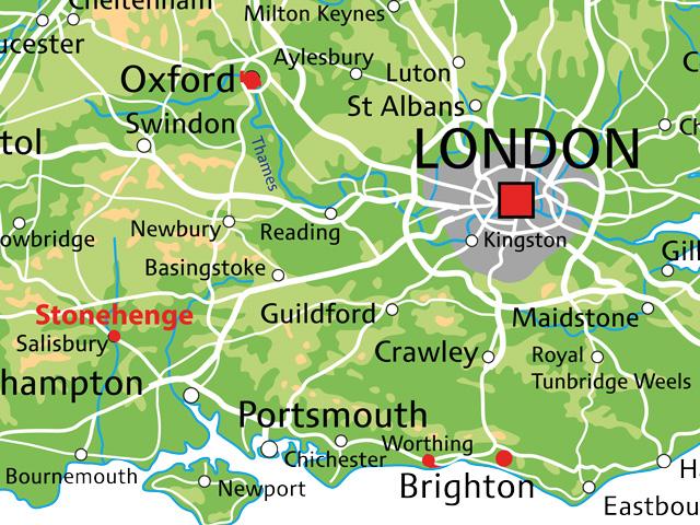 Schulfahrt England: Ausflug nach Stonehenge (Karte)