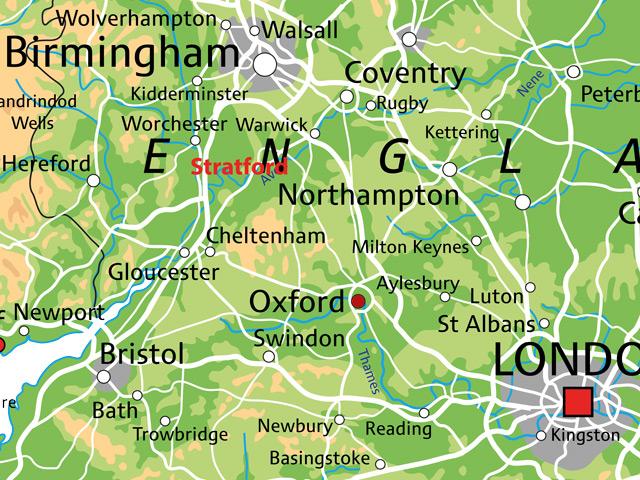Schulfahrt England: Ausflug nach Stratford (Karte)