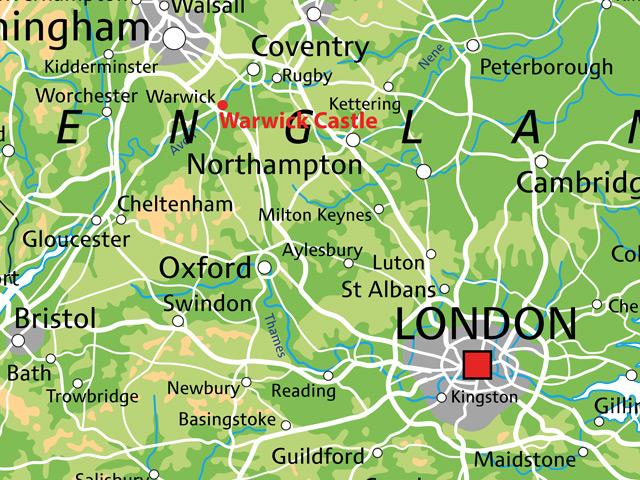 Schulfahrt England: Ausflug Warwick Castle (Karte)