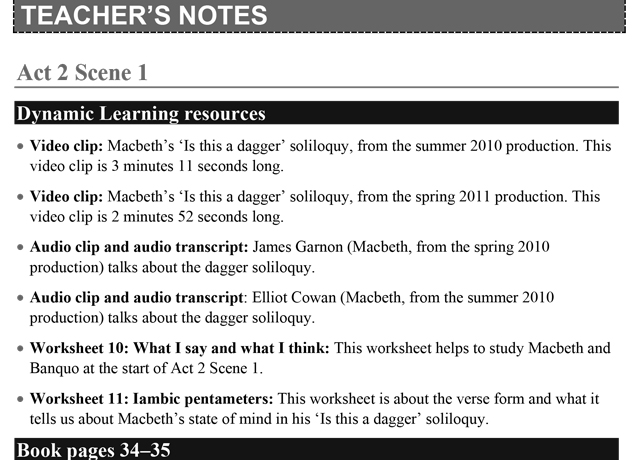 Teachers' Notes: Macbeth